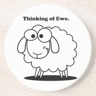 Thinking of Ewe Lamb Sheep Cute Cartoon Sandstone Coaster