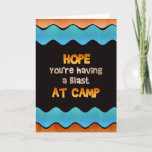 "Thinking of You at Summer Camp Card<br><div class=""desc"">Send a colorful note from home letting your little camper know you are thinking of them and hope they are having a blast while they are away at camp.</div>"