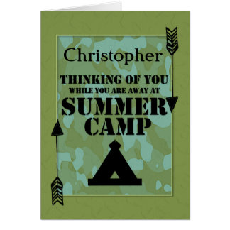 Thinking of You Away at Summer Camp Custom Name Greeting Card