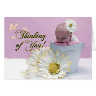 Thinking of You - Baby in FlowerPot Card