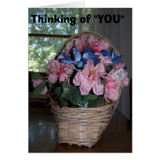 Thinking of You, Basket of Pink Flowers Card