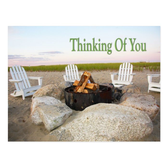 Thinking Of You Beach Campfire Postcard