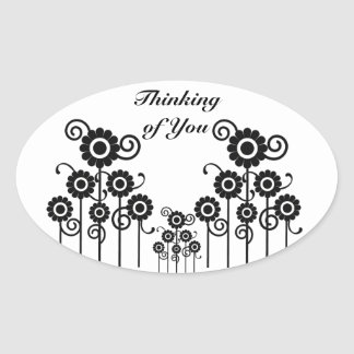 Thinking of You black & white floral oval stickers