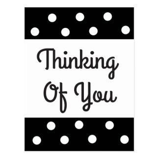Thinking of You Black & White Polka Dot Postcard