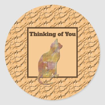 Thinking of You Brown Patchwork Quilt Pattern Cat Classic Round Sticker