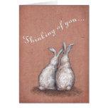 Thinking of You Bunnies Custom Greeting Card