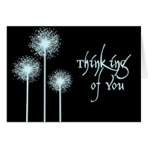 thinking of you, black, blue, simple, dandelion, dandelions, expression, sentiment, words, greeting, card, note, cards, friends, Card with custom graphic design