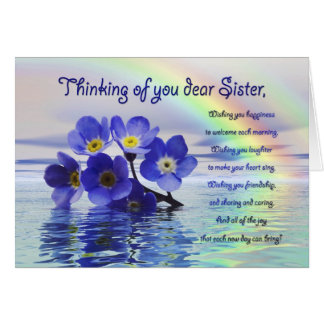 Thinking of you card for sister + forget me nots