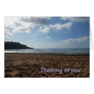 Thinking of you card with a peaceful beach scene