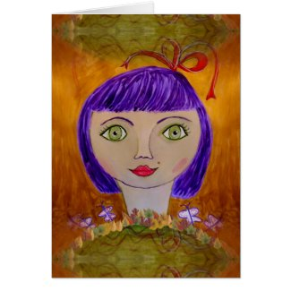 Thinking of You Card with Purple-Haired Girl