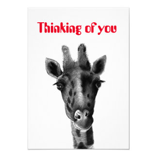 """Thinking of you"" card with sad giraffe"