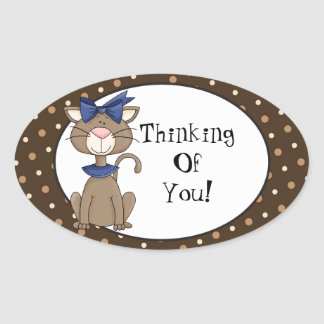Thinking of you cartoon cat sticker