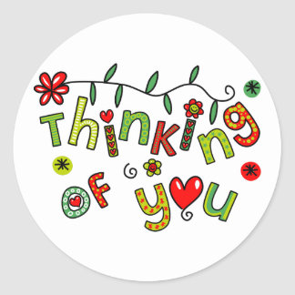 Thinking of You Cartoon Doodle Text Classic Round Sticker