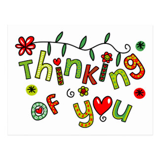 Thinking of You Cartoon Doodle Text Postcard