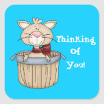Thinking of you cartoon sicker square sticker