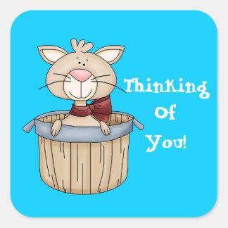 Thinking of you cartoon sicker square sticker