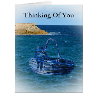 Thinking Of You Cat Sea Adventure Bg Greeting Card