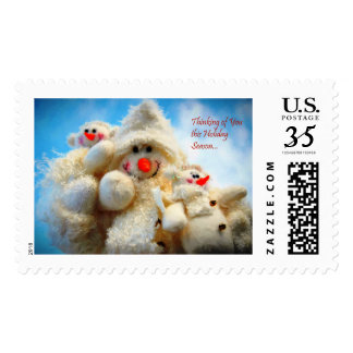 Thinking of You Christmas Snowman Postage