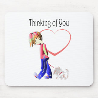 Thinking of You, Cute Boy and Dog Art Mouse Pads
