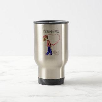 Thinking of You, Cute Boy and Dog Art Mugs