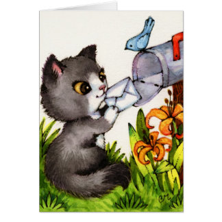 Thinking of You - Cute Cat Greeting Card