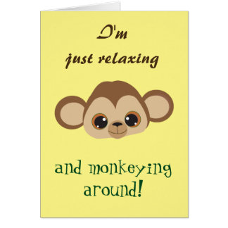 Thinking of you Cute Monkey Yellow Card