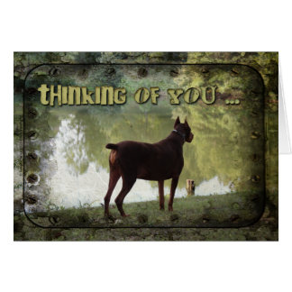 Thinking of You - Doberman Overlooking a Lake Greeting Card