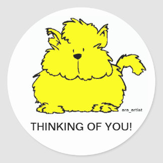 THINKING OF YOU FAT YELLOW CAT GIFT STICKER BY ARA