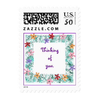 Thinking of you, flower border stamps