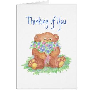 Thinking of You Flowers &  Teddy Bear Card