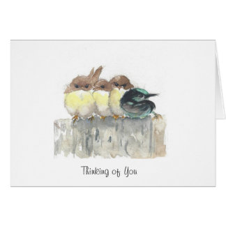 Thinking of You - Four little birds, 1 stands out Card
