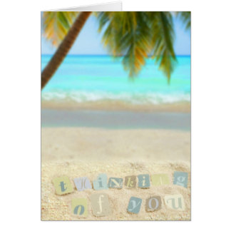 Thinking of you from a tropical beach greeting card