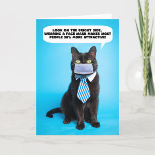 Thinking of You Funny Cat in Coronavirus Face Mask Holiday Card
