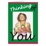 Thinking of You Girl Holding Ornaments Card
