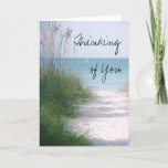 "Thinking of  You Greeting Card<br><div class=""desc"">Greeting card features the gorgeous Coquina Beach on Florida&#39;s Anna Maria Island near Bradenton. This Gulf Coast beach has sugar white sand,  sea oats and torquoise surf. Photo digitally enhanced with a &quot;fine grain&quot; filter. Customizable. More cards designed by Cheryl Rogers.</div>"