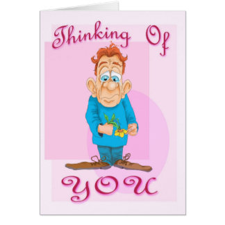 Thinking of you guy with flower greeting card