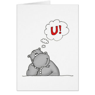 Thinking of you - Hippo in Love Card