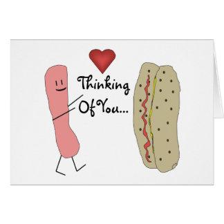 Thinking Of You Hotdog Cartoon Card
