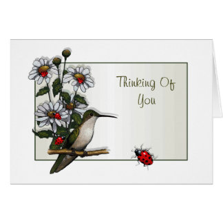 Thinking Of You:  Hummingbird, Daisies, Ladybugs Greeting Card