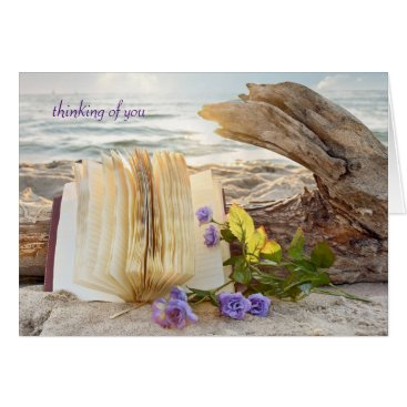 Beach Themed thinking of you-journal and roses on driftwood card