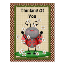 Thinking Of You Ladybug Postcard