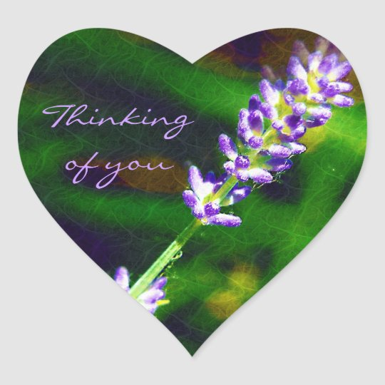 Thinking of You - Lavender Art Heart Sticker