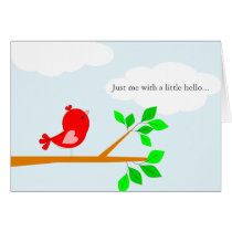 Thinking of You Little Hello Red Bird Card