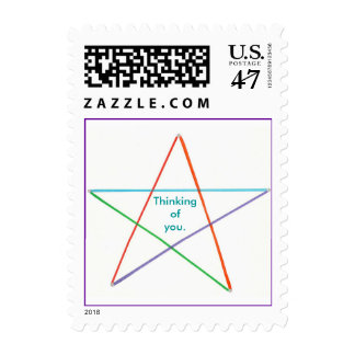 Thinking of you, multi colored star postage stamps