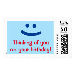 """""""Thinking of you on your birthday!"""" + Smiling Face Postage"""