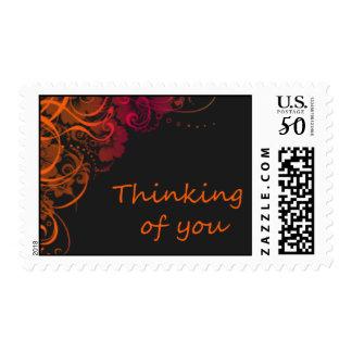 Thinking of you, Orange blooms Postage