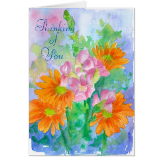 Thinking of You Orange Daisy Watercolor Flowers Card