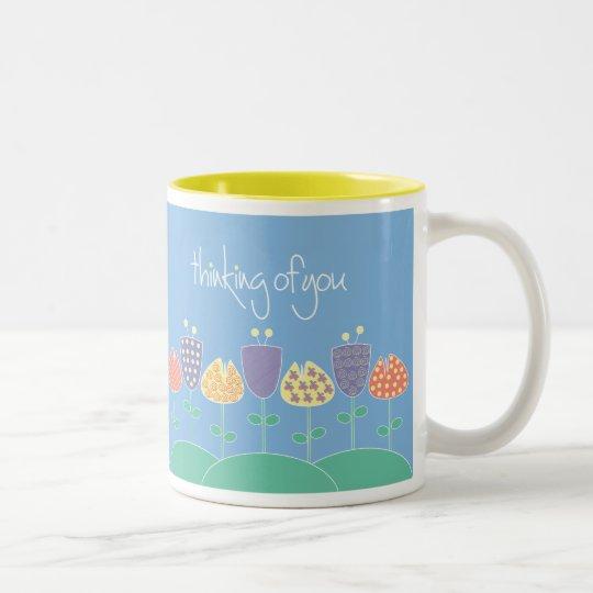 Thinking of you patterned floral mug