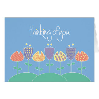 Thinking of you patterned flowers card