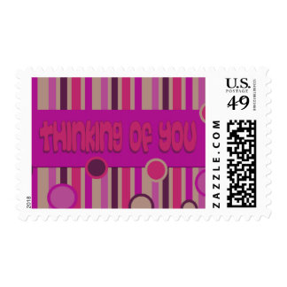 thinking of you pink red postage stamp